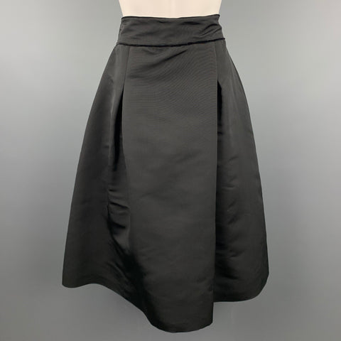 HEIDI WEISEL Size 10 Black Pleated Tafeta Silk Pleated Evening Skirt