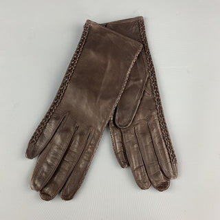 MADOVA Size S Brown Leather Whipstitch Trim Gloves