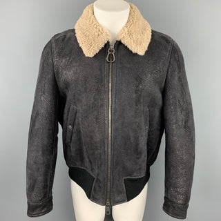 NEIL BARRETT Size L Black Textured Lambskin Zip Up Jacket