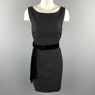 DOLCE & GABBANA Size 4 Black Virgin Wool Sleeveless Velvet Bow Shift Dress