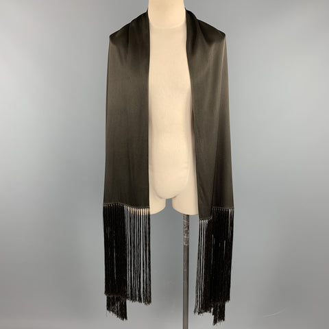 JOHN GALLIANO Solid Brown Fringe Scarf