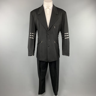 Vintage WILLIAM B Size 40 Black Wool Vinyl Stripe 3 Snap Suit