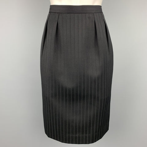 Vintage YVES SAINT LAURENT Rive Gauche Size 10 Black Stripe Twill Pleated Pencil Skirt