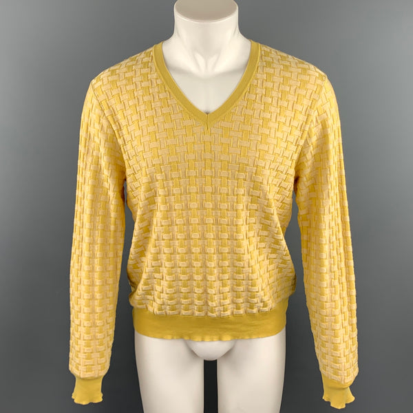 BURBERRY PRORSUM Spring 2006 Size L Yellow Knitted Silk / Cotton V-Neck Pullover