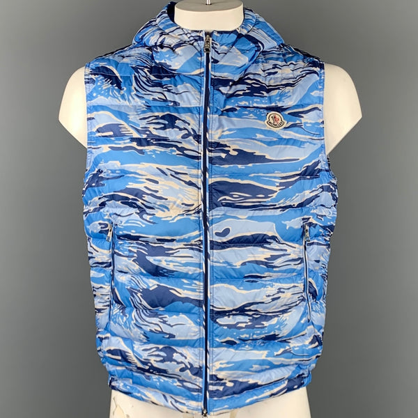MONCLER Size XXL Blue Camouflage Polyamide Zip Up Hooded Vest