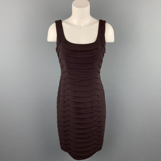 CARMEN MARC VALVO Size 6 Brown Layered Polyester Blend Sheath Dress