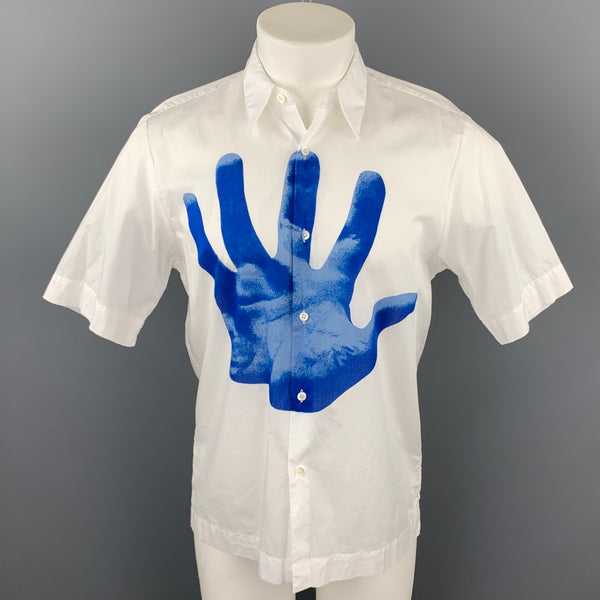 DRIES VAN NOTEN Verner Panton S/S 19 Size M White & Blue Hand Print Cotton Button Up Short Sleeve Shirt