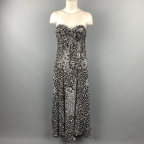 LIANCARLO Size 8 Black & White Chiffon Silk Strapless Dress Gown