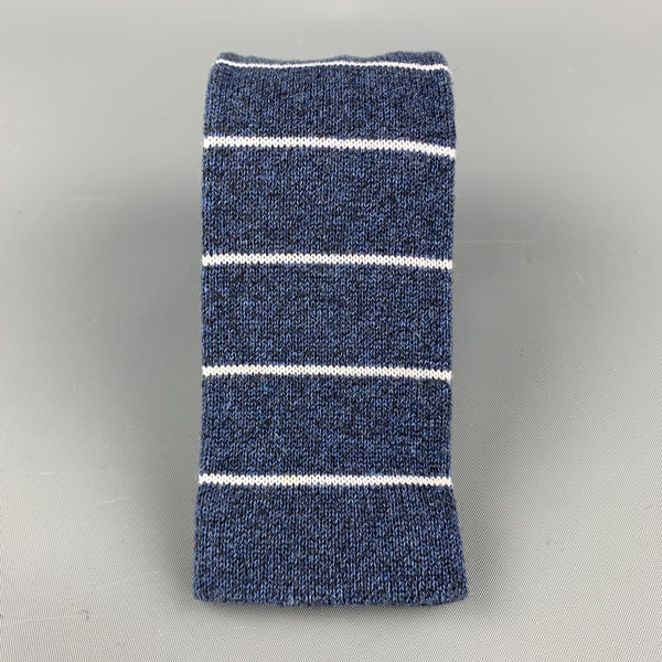 FIL D'ECOSSE Navy & White Striped Cotton Knit Square Tie