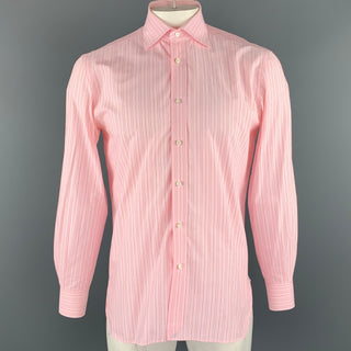 BORRELLI Size M Pink Stripe Cotton Button Up Long Sleeve Shirt