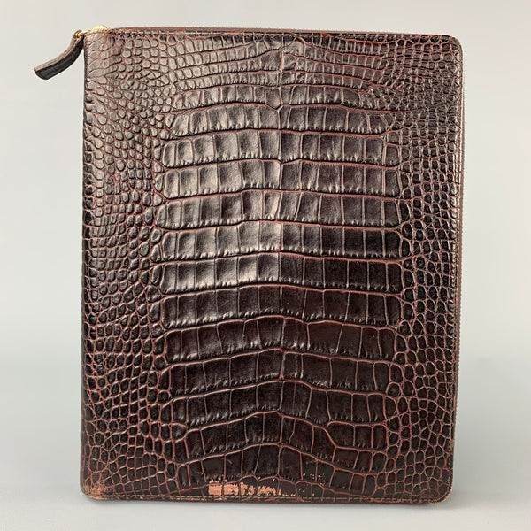 SMYTHSON OF BOND ST. Brown Embossed Leather iPad Case