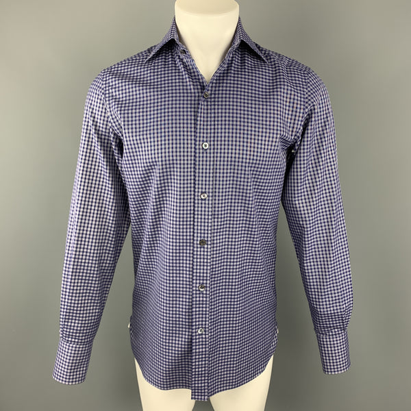 TOM FORD Size S Navy & White Plaid Cotton Button Up Long Sleeve Shirt