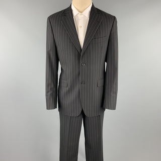 JOHN BARTLETT Size 40 Regular Black Chalkstripe Wool Notch Lapel Suit