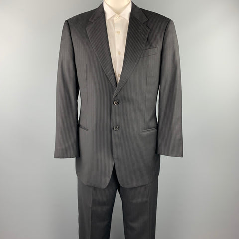 EMPORIO ARMANI Size 42 Regular Black Stripe Wool Notch Lapel Suit