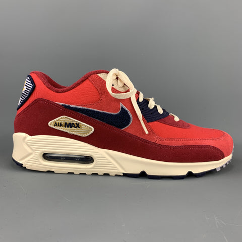 NIKE Size 11 Red & Navy Canvas Suede Trim Lace Up Sneakers