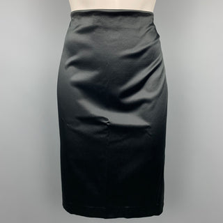 MISSONI Size M Black Satin Pencil Skirt