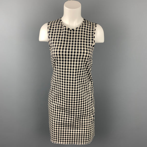 THEORY Size 0 Black & White Gingham Cotton Blend Sheath Dress