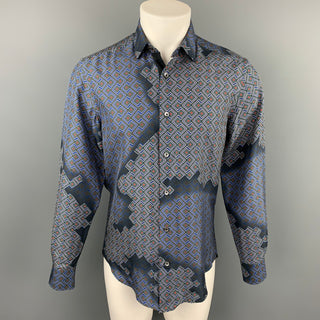 LANVIN Size M Navy & Blue Geometric Button Up Long Sleeve Shirt