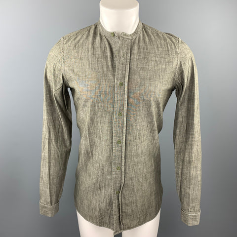 BURBERRY PRORSUM Size S Olive Cotton Nehru Collar Long Sleeve Shirt