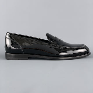 BALMAIN Size 10 Black Patent Leather Slip On Penny Loafers
