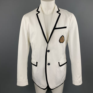 D&G by DOLCE & GABBANA Size 40 White & Navy Notch Lapel Patch Blazer