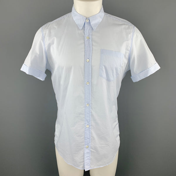 DRIES VAN NOTEN Size M Light Blue Cotton Button Up Patch Pocket Cuffed Short Sleeve Shirt