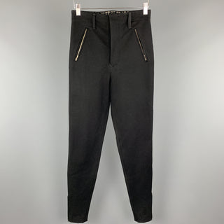 JEAN PAUL GAULTIER Size 30 Black Wool Twill Stretch Riding Pants
