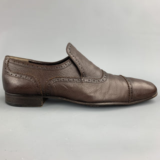 BALLY Danube Size 10 Brown Perforated Leather Cap Toe Loafers