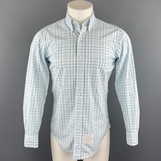 THOM BROWNE Size S White & Light Blue Plaid Cotton Button Down Long Sleeve Shirt