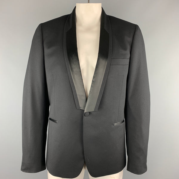 PAUL SMITH Black Solid Wool Size 44 Shawl Collar Sport Coat