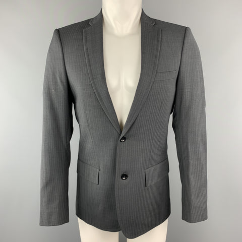 FILIPPA K 36 Dark Gray Stripe Polyester Blend Notch Lapel Sport Coat