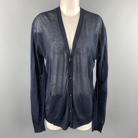 DRIES VAN NOTEN Size M Navy Cotton / Cashmere Sheer Knit Cardigan