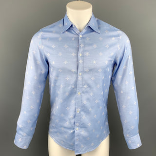 GUCCI Size XS Light Blue Jacquard Cotton Button Up Long Sleeve Shirt