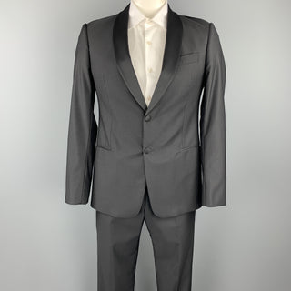 ARMANI COLLEZIONI Size 40 Black Wool / Silk Shawl Collar Tuxedo Suit