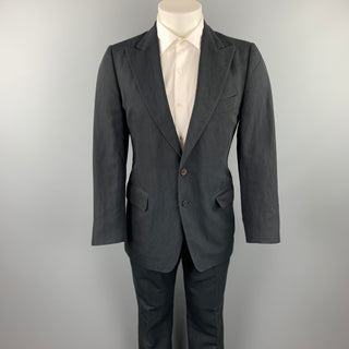 DRIES VAN NOTEN Size 38 Regular Black Pinstripe Linen / Cotton Peak Lapel Suit