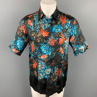 DRIES VAN NOTEN S/S 20 Size XS Black & Blue Floral Viscose Button Up Short Sleeve Shirt