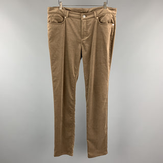 LORO PIANA Size 12 Taupe Cotton / Elastane  Dress Pants