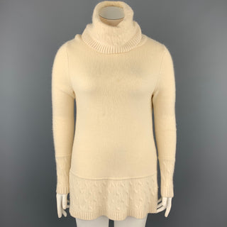 BROOKS BROTHERS Size L Cream Knitted Cashmere Tunic Sweater