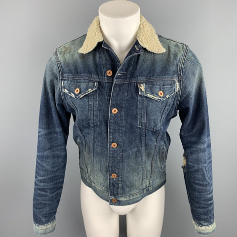 NSF Size XS Indigo Wash Distressed Denim Trucker Jacket