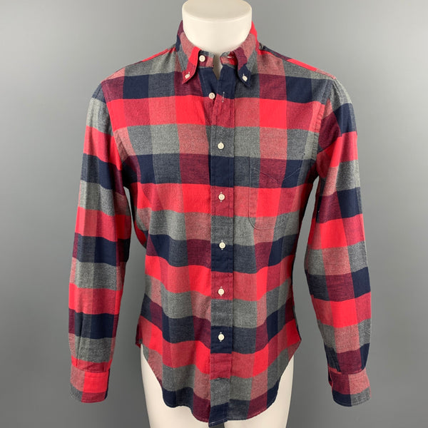 GITMAN VINTAGE Size M Red & Navy Plaid Cotton Button Down Long Sleeve Shirt