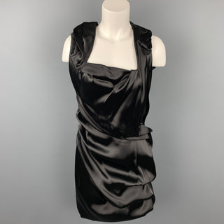 SOPHIA KOKOSALAKI Size 6 Black Nylon Blend Ruched Cocktail Dress