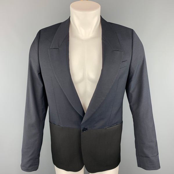 PS by PAUL SMITH Chest Size 36 Two Toned Navy & Black Wool / Mohair Sport Coat