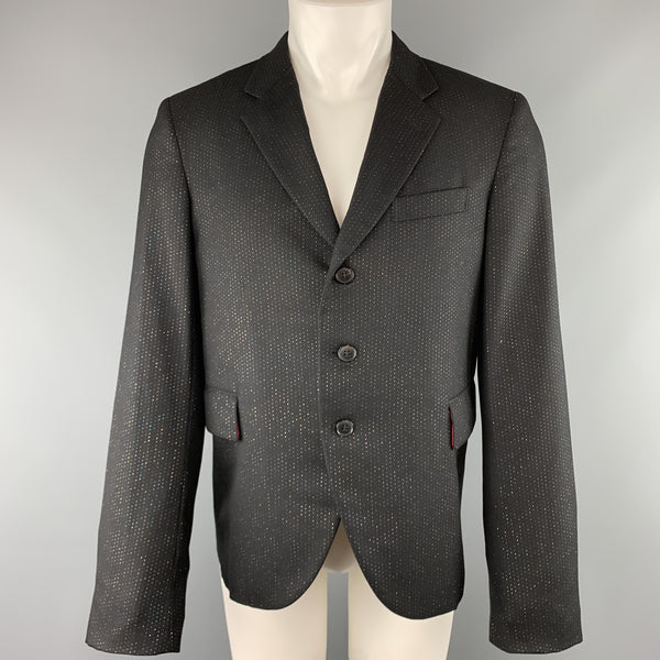 COMME des GARCONS HOMME PLUS Size L Black Metallic Spotted Stripe Wool Notch Lapel Sport Coat