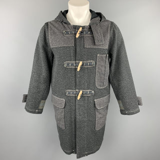 KAPITAL Size M Charcoal Woven Cotton Hooded Toggle Closure Coat