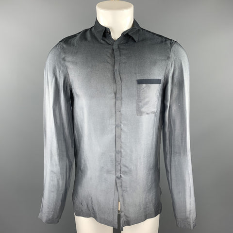 EMPORIO ARMANI Size M Grey Ombre Cupro Hidden Buttons Long Sleeve Shirt