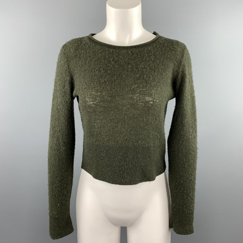 RALPH LAUREN COLLECTION Size 8 Olive Knitted Cashmere Pullover