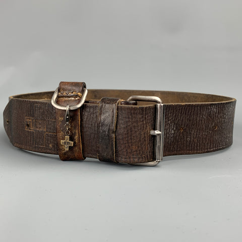 BERYLL Size S Brown Distressed Leather Belt