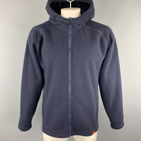 KJUS Size XXL Navy & Charcoal Polyester Blend Hooded Zip Up Jacket