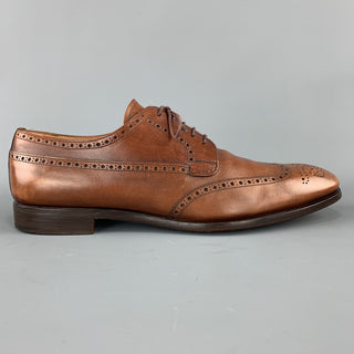 PRADA Size 10.5 Tan Leather Wingtip Lace Up Brogues
