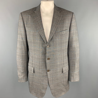 ERMENEGILDO ZEGNA Size 46 Plaid Gray Wool Notch Lapel Long Sport Coat